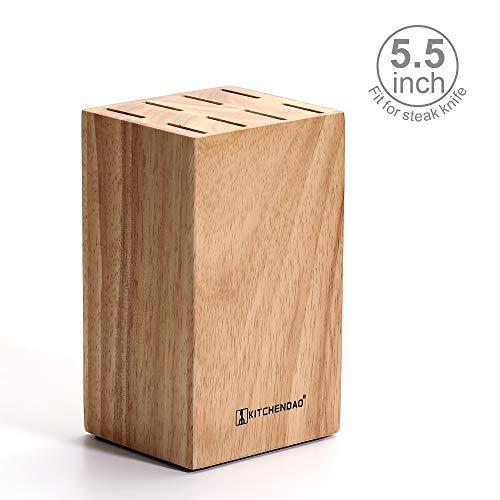 Steak Knife Block For Steak Knives 5.5 Inch Utility Knives 8 Piece Slot Organizer Durable 100% Natural Wood Holder Storage In Drawer Cabinet Kitchen Centerpiece ()