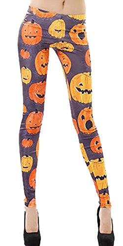 Cruiize Women's High Waist Halloween Fashion Skull Skeleton Legging Yellow (Ripped Leggings Halloween)