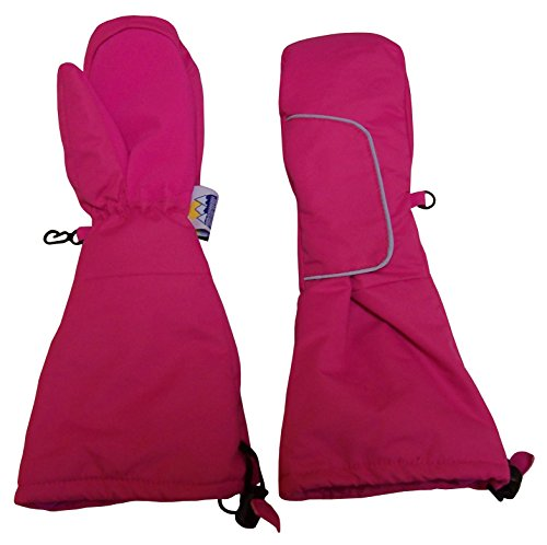 N'Ice Caps Kids Thinsulate Easy On Velcro Wrap Mittens with Elbow Length Cuff (2-3yrs, Fuchsia) - Cuff Snow