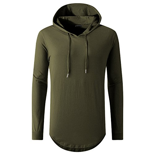 UNRESTRAINED Mens T Shirt Long Sleeve Zip Hip Hop Hoodie Hipster Shirt Army Green S