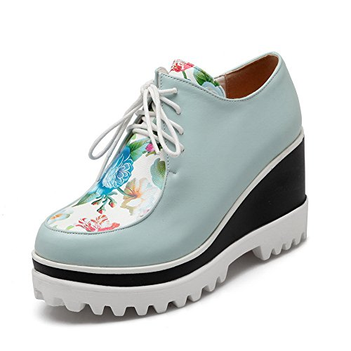Comfort Closure Strap AdeeSu Adjustable Floral Womens Loafers No Blue SDC03639 Shoes Urethane xwFIqBYFH