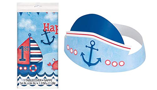 (Unique Industries Nautical Boys 1st Birthday Plastic Tablecloth, 84