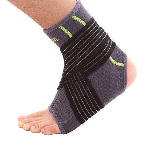 SENTEQ Ankle Brace Support Sleeve - Medical Grade & FDA Approved. Ankle Stabilization Sleeve with Strap and Heel Compression Wrap with Gel Padding Provides Support for Joints and Muscles. (SQ2 N003 M)