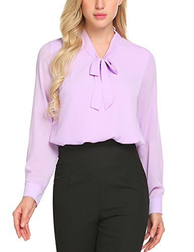 ACEVOG Office Shirt Bow Tie Neck Long Sleeve Lilac Tops and Blouses for Women,Lavender,Medium