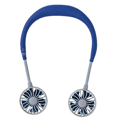 - SPICE OF LIFE Hands-Free Portable Neckband W Fan - 5 Blade Dual Fans, 2000mAh USB Rechargeable Battery, 3 Speed Settings, Plastic Material - Navy