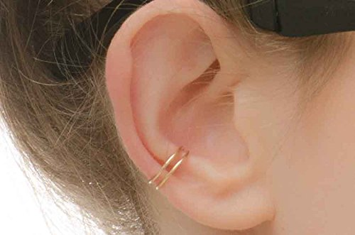 Double Band Helix Earcuff 14k gold filled Cuff Earring Ear Wrap Non Pierced Fake Conch Piercing Clip On (14k Gold Wide Band Ring)