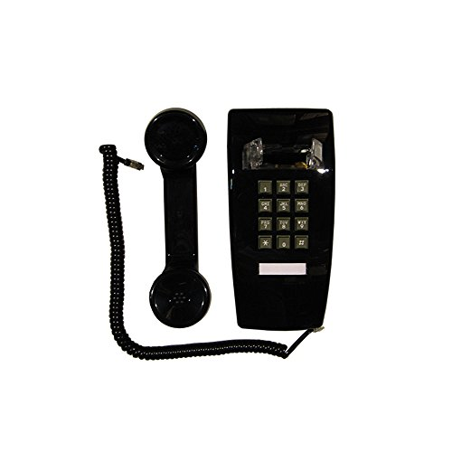 Wall Phone, Single-line, 2554 Traditional style analog telephone, Black color. Must have Wall Jack for your installation