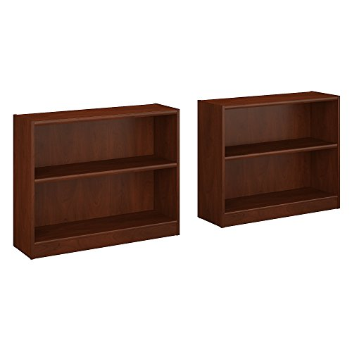 Classic Cherry Bookcase - Universal 2 Shelf Bookcase Set of 2 in Classic Black