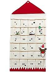 JapanAmStore Christmas Advent Calendar with 24pcs Pockets for Door Wall Hanging Bag Xmas Countdown Calendar Decorations