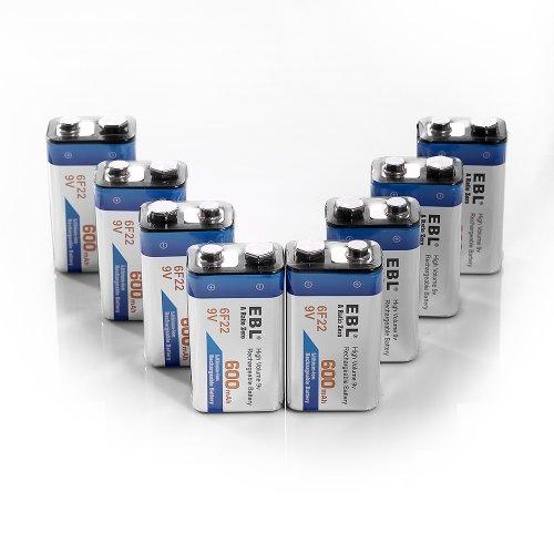 EBL 600mAh 9 Volt Li-ion Rechargeable 9V Batteries Lithium-ion, 8 Pack