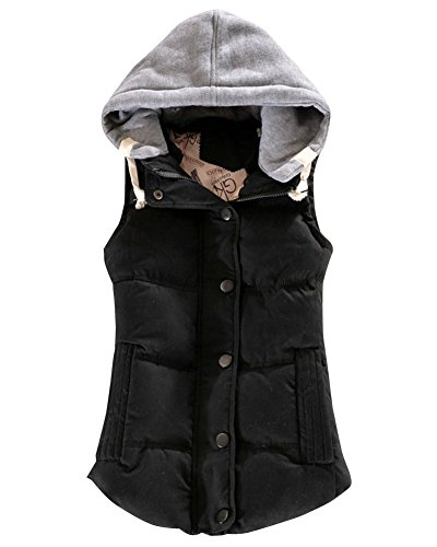 Padded Winter Sleeveless Coats Gilet Womens Black DianShao Vests Thick Warm HnqZfxCf