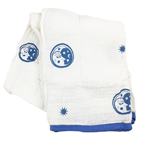 Bambino Land Double Layer Muslin Swaddling Blanket (Blue Moon) Made from Organic Cotton