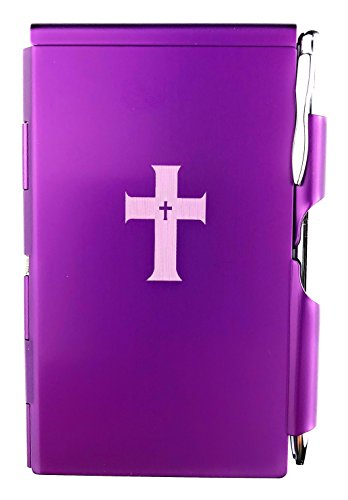 Wellspring Flip Note, Metal Pocket-sized Notebook with Pen, Purple, (Pocket Flip Light)