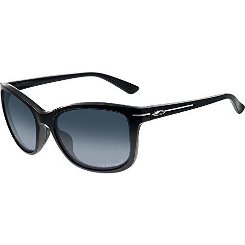 Oakley Women's OO9232 Drop In Cat Eye Sunglasses, Polished Black/Grey Gradient Polarized, 58 mm