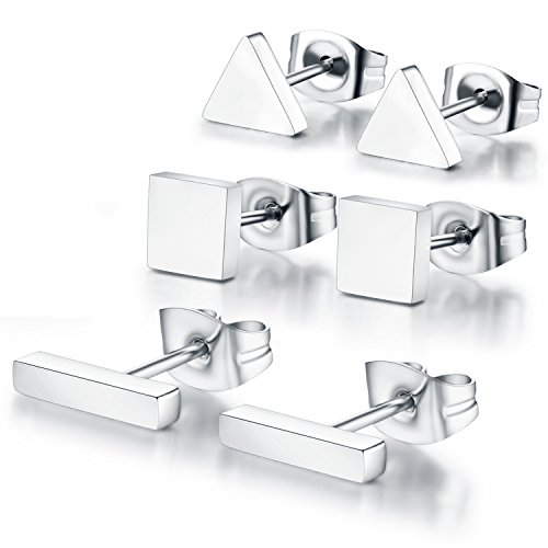 (SPINEX 3 Pairs Silver Stud Earring Set Pierced (Rectangle, Square, Triangle))