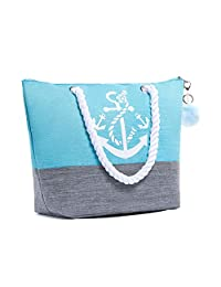 Waterproof Large Tote Beach Bag for Women Top Zipper Closure Cotton Handles with Pompom (Grey)