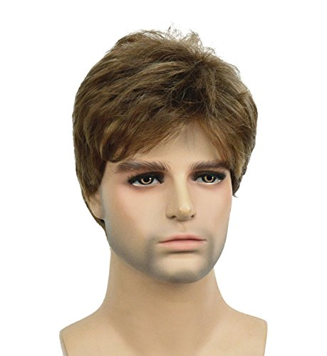 Lydell Men Wig Golden Brown Mix Short Straight Hair Synthetic Full Wigs 6 inches]()
