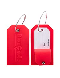 BlueCosto Luggage Tags Suitcase Labels w/ Privacy Cover Steel Loops - Set of 2