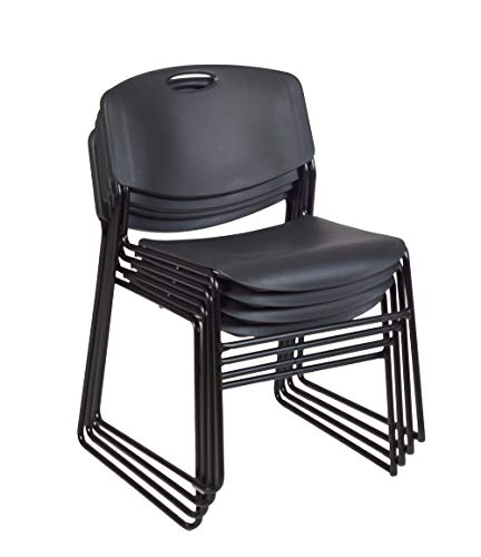 Polypropylene Stack Chair - Regency 4400BK4PK Zeng Stack Chair (4 Pack), Black