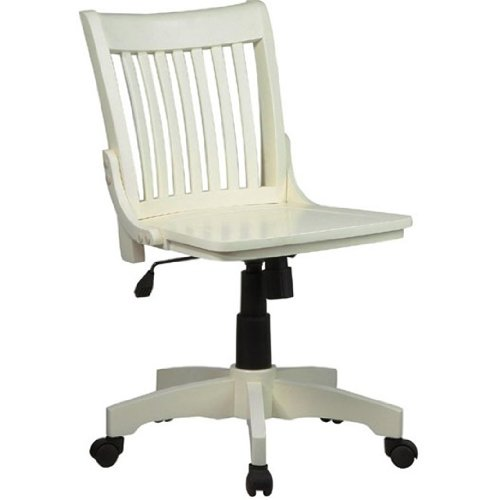 Bankers Chair with Wood Seat in Antique White OSP_101ANW by FF Design ()
