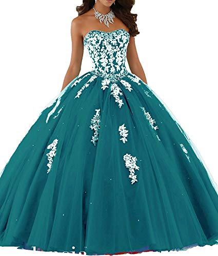 Meledy Women's Sweetheart Quinceanera Dresses Ball Gown Crystal Appliques Popular Debutante Prom Dress Backless Teal US14