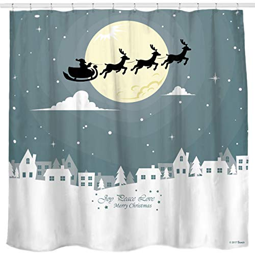Sunlit Custom Home Decor Christmas Decoration Background Fabric Shower Curtain Santa Sleigh Flying Reindeer Festive Bathroom Novelty for New Year White Pale Blue Printed Window Curtain by Sunlit