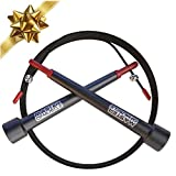 Jump Rope - Master Double Unders and Smash Your Workout - With Bonus Fitness Training Ebook, Speed Rope Carry Case, Outdoor Jumprope Cable Protector and Screw Kit