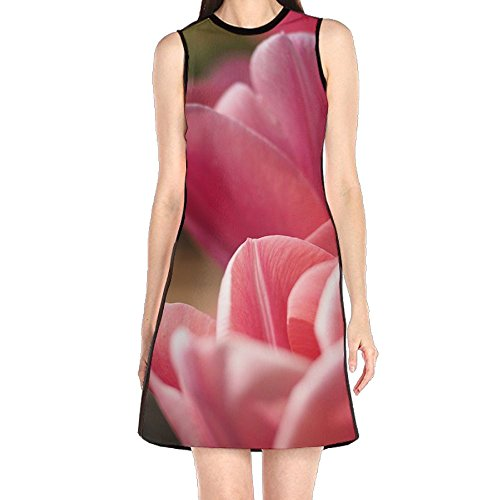 MONILO Tulip Spring Flower Pink Petal Nature Garden Blossom Women's Sexy Sleeveless Mini Dress Print Party Dress Tank Dress (Dress Petal Tulip)
