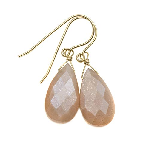 - 14k Yellow Gold Filled Peach Moonstone Earrings Faceted Simple Teardrops Shimmery Sparkle Briolettes