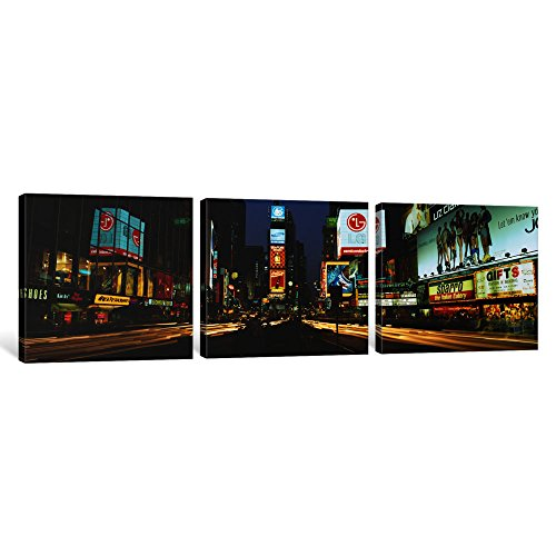 iCanvasART 3 Piece Shopping Malls in a City, Times Square, Manhattan, New York City, New York State, USA Canvas Print by Panoramic Images, 48