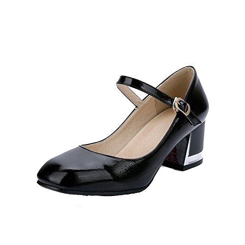 Damen PU Schnalle Quadratisch Zehe Niedriger Absatz Rein Pumps Schuhe, Schwarz, 39 VogueZone009