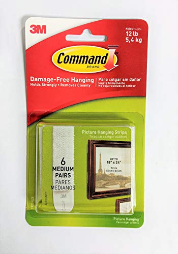 (Command 3M 12ct Pack Picture & Frame Hanging Strips Sets Medium Size White Damage-Free )