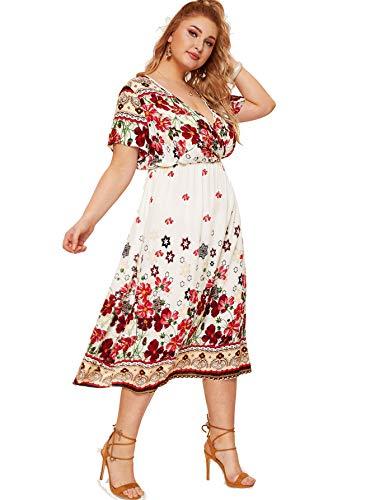 Milumia Women Plus Size Surplice V Neck Floral Boho High Waist Dress White 0X ()