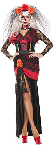 Starline Women's Day Of The Dead Gown 4 Piece Sexy Costume Dress Set, Black/Red, Large ()