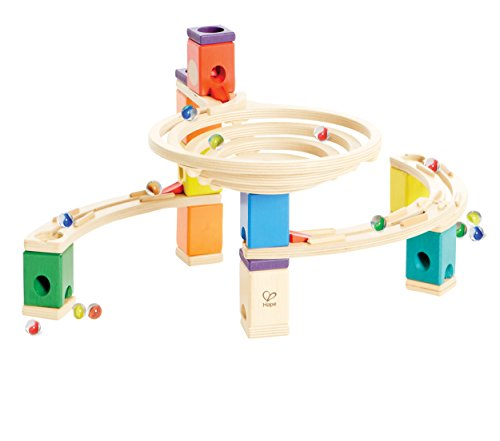 Quadrilla Wooden Marble Run Construction - The Roundabout - Quality Time Playing Together Wooden Safe Play - Smart Play for Smart Families (Quadrilla Twist Marble)