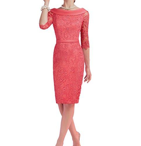 Spitze Wassermelon Charmant Etuikleider Abendkleider Promkleider mit Langarm Damen Wassermelon Festlichkleider wgqPgpAS