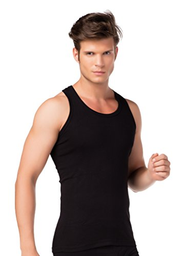 4er-Pack Herren Tank-Top Doppelripp-Unterhemden Schwarz 100 % gekämmte Baumwolle Achselhemd Unterwäsche Größen 5-10 stylenmore