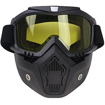 SODIAL Abnehmbare Harley Stil Motorrad Brille Masken Persoenlichkeit Unisex Windschutz Lokomotive Half-Helm UV Sonnenbrille Schutz Radfahren Racing Reiten Maske (Gelb) 150257A2