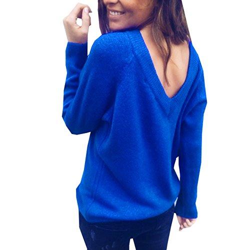 Primavera E Manica Signora Maglieria Maglione Tinta Blu Jumper Unita A Collo Donna Casual V Bluse Top Moda Autunno Lunga Pullover Sweater SCwxvqf