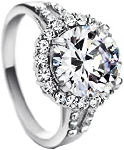 Neoglory Jewelry Platinum Plated Clear Cz Cubic Zirconia Ring, Big Stone, Size 7 8