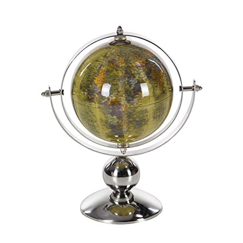 Benzara Table Top Pvc Globe in Stainless Steel, Silver and Yellow by Benzara