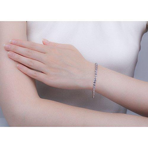 Infinity Saphir Blanc Bracelet de Tennis en or blanc (7in)