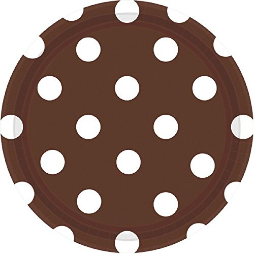 Chocolate Brown Dots Dessert Paper Plates Color Party Disposable Tableware, Round, 7