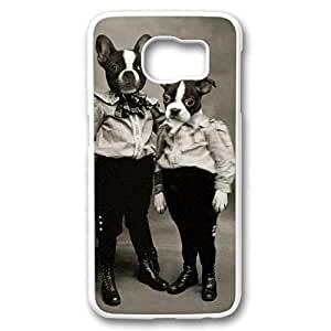 iCustomonline Boston Terrier Photo Case Fits PC White Cover Back for Samsung Galaxy S6