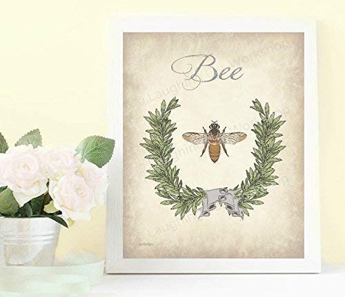 Bee Art Whimsical Bathroom art print Insect Botanical Garden Home Decor Vintage Cottage Shabby Chic Bedroom Decor French Country Kitchen ()