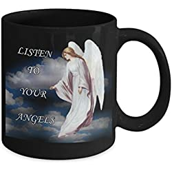 Listen To Your Angels Coffee Tea Mug-Faith I Believe in Angels-Guardian Angel Protection Numbers 444