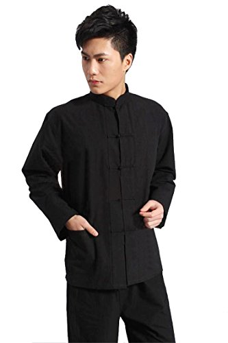 ZooBoo Traditional Long Sleeve Tang Kung Fu Uniform Men's Shirt (Black, ()