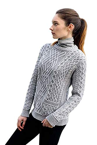 (Ladies 100% Irish Merino Wool Cable Crew Sweater with Pockets by West End)