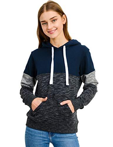 esstive Women's Color Block Basic Fleece Pullover Hooded Sweatshirt, Navy, - Navy Fleece Sweatshirt Hooded