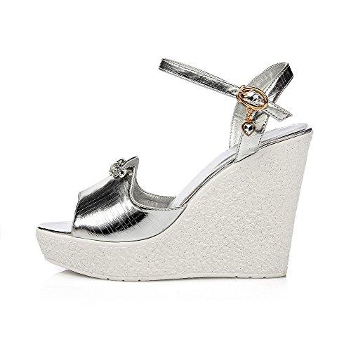 AllhqFashion Women's High Toe Silver Heels Sandals Open Solid Buckle rR6dIZwqnr